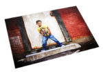 Print with luster spray with image of young boy