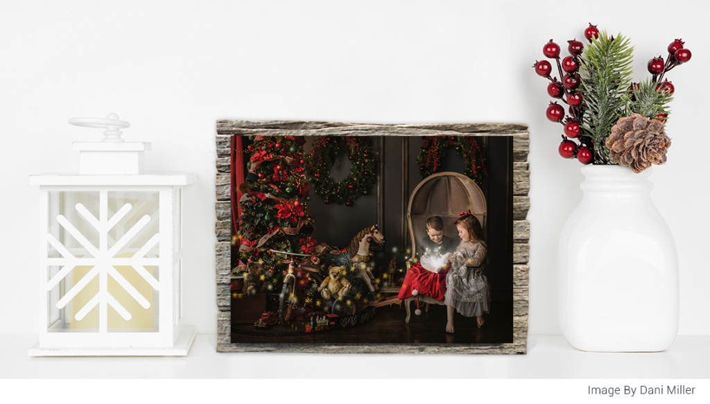 Christmas image on barn wood minis