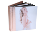 Rose gold designer integrity albums with female on cover