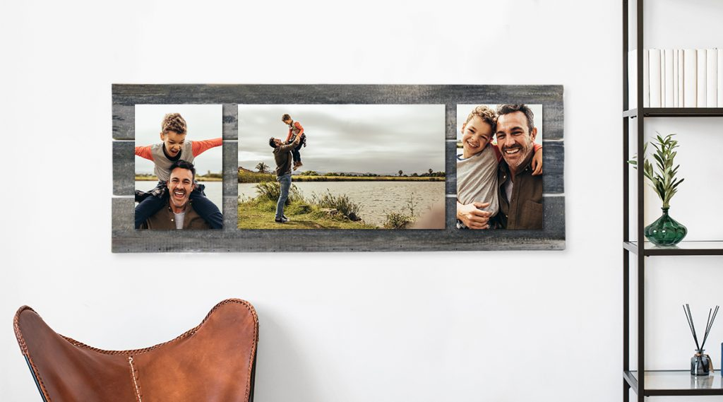Barn Wood Metal Float with Father Son Images