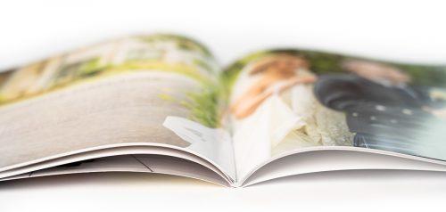 Close up of open brochure